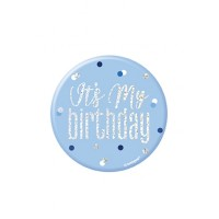 "Blue/Silver Glitz Foil It's My Birthday Badge 3"" 1CT"