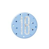 """Blue/Silver Glitz Foil Age 18 Badge 3"""" 1CT"""