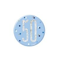 """Blue/Silver Glitz Foil Age 50 Badge 3"""" 1CT"""