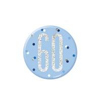 """Blue/Silver Glitz Foil Age 60 Badge 3"""" 1CT"""