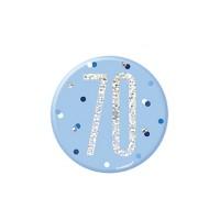 """Blue/Silver Glitz Foil Age 70 Badge 3"""" 1CT"""
