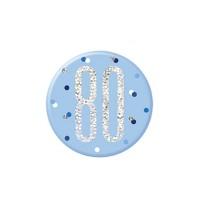 """Blue/Silver Glitz Foil Age 80 Badge 3"""" 1CT"""