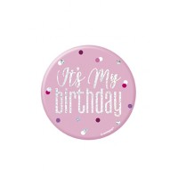 "Pink/Silver Glitz Foil It's My Birthday Badge 3"" 1CT"