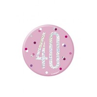 "Pink/Silver Glitz Foil Age 40 Badge 3"" 1CT"