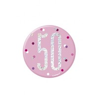 "Pink/Silver Glitz Foil Age 50 Badge 3"" 1CT"
