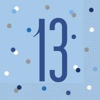 Blue/Silver Glitz Age 13 Luncheon Napkin 16ct