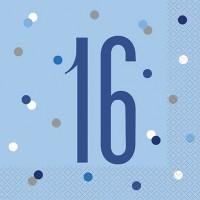 Blue/Silver Glitz Age 16 Luncheon Napkin 16ct
