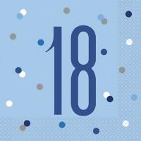Blue/Silver Glitz Age 18 Luncheon Napkin 16ct