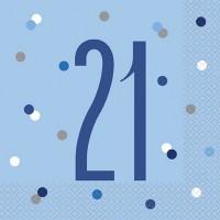 Blue/Silver Glitz Age 21 Luncheon Napkin 16ct