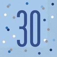 Blue/Silver Glitz Age 30 Luncheon Napkin 16ct