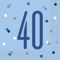 Blue/Silver Glitz Age 40 Luncheon Napkin 16ct