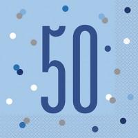 Blue/Silver Glitz Age 50 Luncheon Napkin 16ct