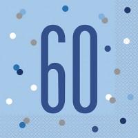 Blue/Silver Glitz Age 60 Luncheon Napkin 16ct