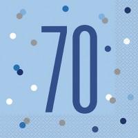 Blue/Silver Glitz Age 70 Luncheon Napkin 16ct