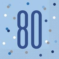 Blue/Silver Glitz Age 80 Luncheon Napkin 16ct