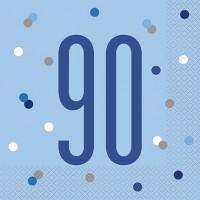 Blue/Silver Glitz Age 90 Luncheon Napkin 16ct