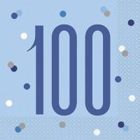 Blue/Silver Glitz Age 100 Luncheon Napkin 16ct