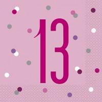 Pink/Silver Glitz Age 13 Luncheon Napkins 16ct