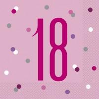 Pink/Silver Glitz Age 18 Luncheon Napkins 16ct