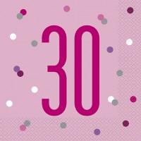 Pink/Silver Glitz Age 30 Luncheon Napkins 16ct