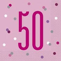 Pink/Silver Glitz Age 50 Luncheon Napkins 16ct