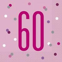 Pink/Silver Glitz Age 60 Luncheon Napkins 16ct