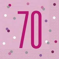 Pink/Silver Glitz Age 70 Luncheon Napkins 16ct