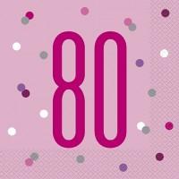 Pink/Silver Glitz Age 80 Luncheon Napkins 16ct