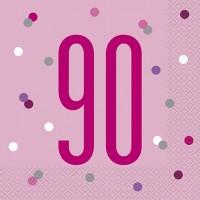 Pink/Silver Glitz Age 90 Luncheon Napkins 16ct