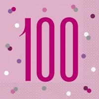 Pink/Silver Glitz Age 100 Luncheon Napkins 16ct