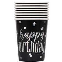 Black/Silver Glitz 9 oz Foil Cups 8ct