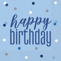 Blue/Silver Glitz Happy Birthday Luncheon Napkin 16ct