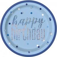 """Blue/Silver Glitz Foil 9"""" Plates 8ct"""