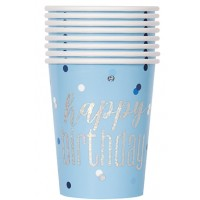 Blue/Silver Glitz Foil 9oz Cups