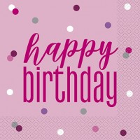 Pink/Silver Glitz Happy Birthday Luncheon Napkin 16ct
