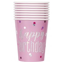 Pink/Silver Glitz Foil 9oz Cups