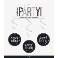 "Black/Silver Glitz Foil Happy Birthday Hanging Swirl Decorations 32""L 6ct"