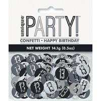 Black/Silver Glitz Foil Age 13 Confetti 0.5 oz