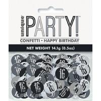 Black/Silver Glitz Foil Age 16 Confetti 0.5 oz