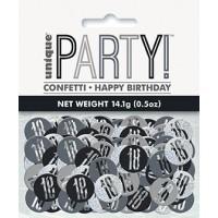 Black/Silver Glitz Foil Age 18 Confetti 0.5 oz