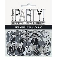 Black/Silver Glitz Foil Age 21 Confetti 0.5 oz