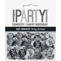 Black/Silver Glitz Foil Age 30 Confetti 0.5 oz
