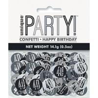 Black/Silver Glitz Foil Age 40 Confetti 0.5 oz