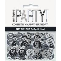 Black/Silver Glitz Foil Age 50 Confetti 0.5 oz