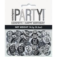 Black/Silver Glitz Foil Age 60 Confetti 0.5 oz