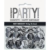 Black/Silver Glitz Foil Age 70 Confetti 0.5 oz