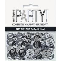Black/Silver Glitz Foil Age 80 Confetti 0.5 oz