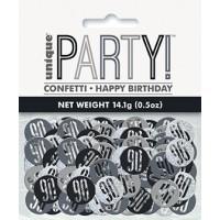 Black/Silver Glitz Foil Age 90 Confetti 0.5 oz