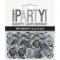 Black/Silver Glitz Foil Age 100 Confetti 0.5 oz