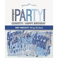 Blue/Silver Glitz Foil Happy Birthday Confetti 0.5 oz